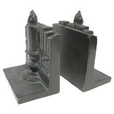 """Pair of Bronze Candlestick Bookends - 4 3/4"""" Tall"""