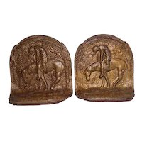 """Pair of Cast Iron """"End of the Trail Indian on Horse"""" Bookends - 3 7/8"""" Tall"""