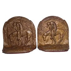 "Pair of Cast Iron ""End of the Trail Indian on Horse"" Bookends - 3 7/8"" Tall"