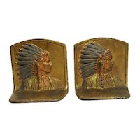 """Pair of Chief Indian Iron Clad/Bronze Bookends - Original Paint - 5"""" Tall"""