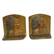 "Pair of Chief Indian Iron Clad/Bronze Bookends - Original Paint - 5"" Tall"