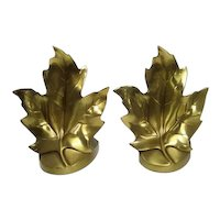 """Pair of Craftsman Brass Maple Leaf Bookends - 6 1/2"""" Tall"""