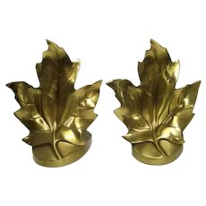 "Pair of Craftsman Brass Maple Leaf Bookends - 6 1/2"" Tall"