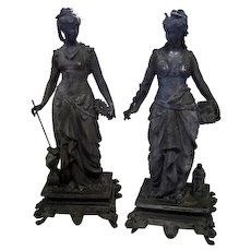 Pair of Early 1900's Victorian Lady Spelter Statues - 19 1/8