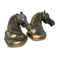 "Pair of Horse Head Bronze Brass Finish Bookends - 6"" Tall"