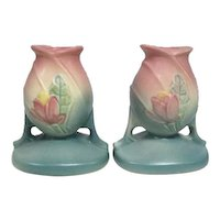 "Pair of Hull Art USA 27-4 Candleholders - 4 3/8"" Tall"