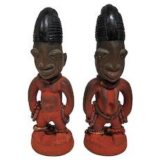"Pair of Ibeji Carved Wooden Statues w/Beads - 10"" Tall"