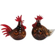 Pair of Murano - Hand Blown Glass Rooster and Hen Chicken
