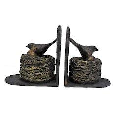 Pair of Resin & Cast Iron Bird Nest Bookends