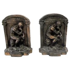 "Pair of Solid Bronze ""The Thinker"" Bookends - 5"" Tall"