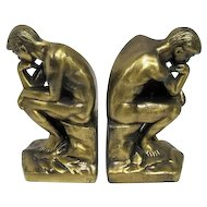 "Pair of Vintage 1928 Brass ""The Thinker"" Bookends - 7"" Tall"