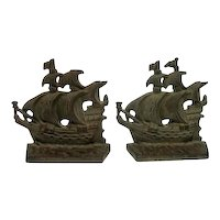 """Pair of Vintage Cast Bronze Sailing Ship/Pirate Bookends - 4 1/4"""" Tall"""