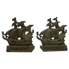 "Pair of Vintage Cast Bronze Sailing Ship/Pirate Bookends - 4 1/4"" Tall"