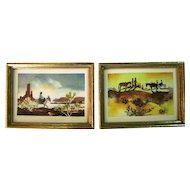 Pair of Water Color Paintings on Paper By Atkinson