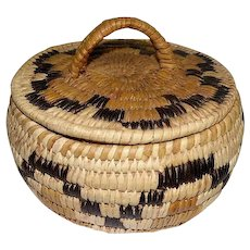 "Papago Basket with Lid - Bundled Coil - 4"" Tall"