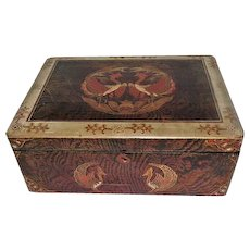 Paper Design on Wood & Black Lacquer Interior/Bottom Keepsake Box - Made in Japan