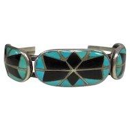 Pawn Turquoise & Black Onyx Setting Cuff Bracelet