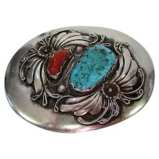 "Pawn Turquoise & Coral Stone Belt Buckle - 3"" x 2 3/8"""