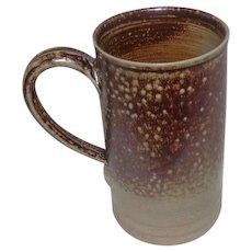 "PBWC Stamped Redware Stone Pottery Mug w/Salt Glaze - 6 1/4"" Tall"
