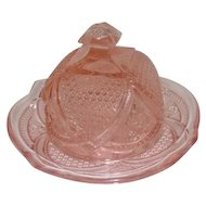 "Pink Depression Glass Cheese Dish w/Plate - 5"" Tall"