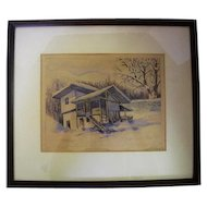 Professionally Framed & Matted Watercolor Signed in Pencil