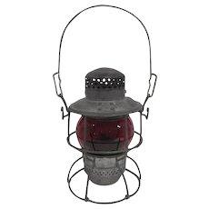 """R.R. Adlake - Kero 3-53 Lantern w/Red Globe - 9 3/4"""" Tall"""