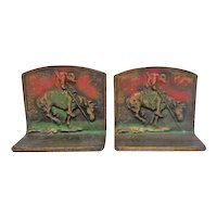 Rare -  Pair of End Of The Trail Indian On Horse Bookends - Original Paint - Marked