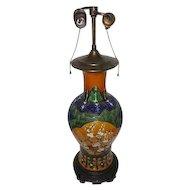 "Rare - Large Oriental Cherry Blossom Vase Lamp w/Bronze Base - 25 1/2"" Tall"