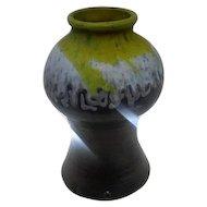 "Rare - Roseville Brown/White/Yellow Drip Vase Lamp Base - 11 3/4"" Tall"