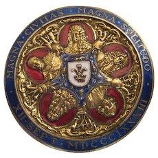 Rare Enameled Commemorative Medal Pin - Struck Sept. 12, 1883 - 200th Anniv of 1683