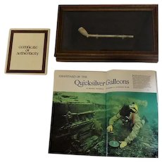 Recovered Clay Smoking Pipe From Spanish Galleons 1700's - w/COA and Magazine
