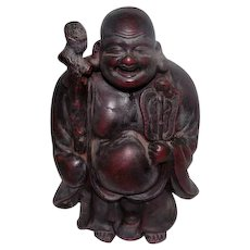 "Red Ware Pottery Buddha Figure - 9"" Tall"