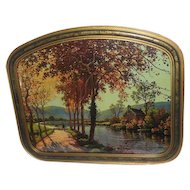 River Landscape w/ Cabin and Trees (Fall Colors) Print