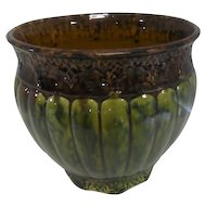 "Roseville Brown/Green Planter Pot - Designed Rim and Base - 8"" Tall"
