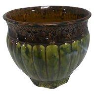 "Roseville Brown/Green Planter Pot - Designed Rim and Base - 8"" Tall"