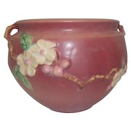 "Roseville Double Handled Apple Blossom Pink Jardiniere Bowl 301-6- 6 1/4"" Tall"