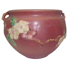 """Roseville Double Handled Apple Blossom Pink Jardiniere Bowl 301-6- 6 1/4"""" Tall"""
