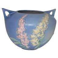 "Roseville Foxglove 418-6"" Blue Bowl with Double Handles - 6 1/2"" Tall"