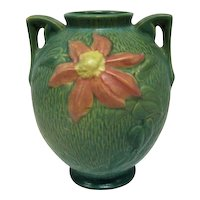 "Roseville Large Green Double-Handled Vase - 8 1/2"" Tall"