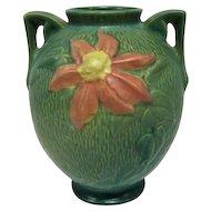 "Roseville Large Green Double-Handled Vase - 8 1/2"" Tall"