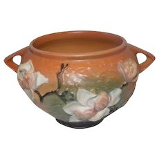 "Roseville USA 665-5 Magnolia Orange Jardiniere Bowl - 5"" Tall"