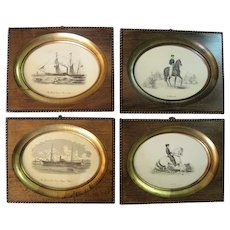 Set of (4) Etchings Lithographs, Hand Colured in Old Handmade Detailed Walnut Frames