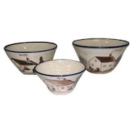 Set of 3 - Lewallen Signed Folk Art Pottery Mixing Bowls