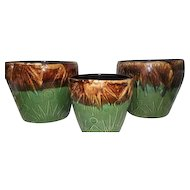 Set of 3 - R.R.P.CO. Roseville, O USA Planter Pots