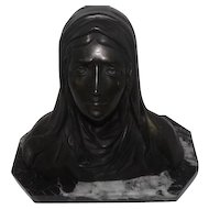 """Signed Bronze Head Madonna Lady w/Tears On Marble Base - 9 1/4"""" tall"""