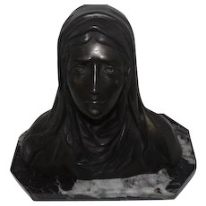 "Signed Bronze Head Madonna Lady w/Tears On Marble Base - 9 1/4"" tall"