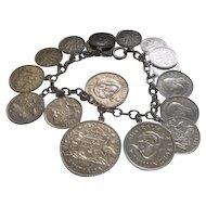 "Silver Link Bracelet w/ (17) Silver Coin Charms - 7"" Long - 57.6 grams"