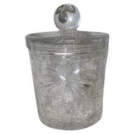 "Star Pattern - Lead Crystal Glass Candy Dish w/Lid - 7 1/2"" Tall"