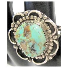 Sterling Art Noveau Style Ring with Turquoise Stone - Size 10.5
