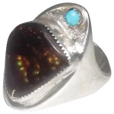Sterling Brown Fire Opal & Turquoise Stone Ring - Size 13.5
